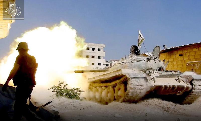 مدرعات المعارضة على جبهة عين ترما في الغوطة الشرقية - 23 حزيران 2017 (فيلق الرحمن)