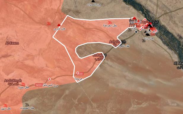 خريطة توضيحية لمحاور تقدم قوات الاسد اتجاه دير الزور- 6 أيلول 2017 (الخريطة الحربية)
