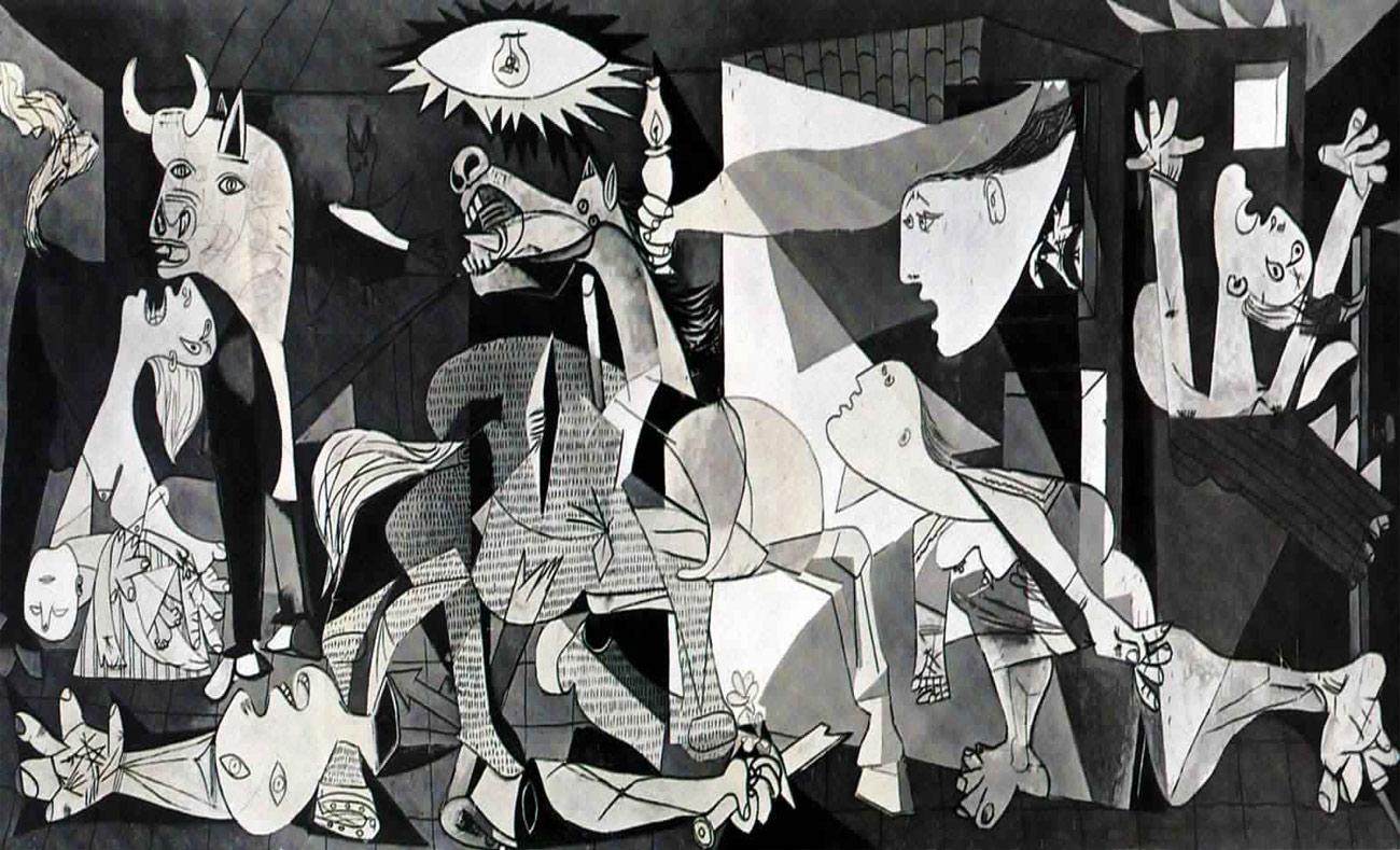 """لوحة """"غارنيكا"""" التي رسمها الفنان الإسباني بابلو بيكاسو عام 1937 رفضًا للحرب في العالم (انترنت)"""