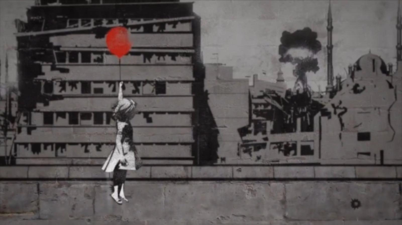 رسم لبانكسي لطفلة سورية تحمل بالونًا (إنترنت)