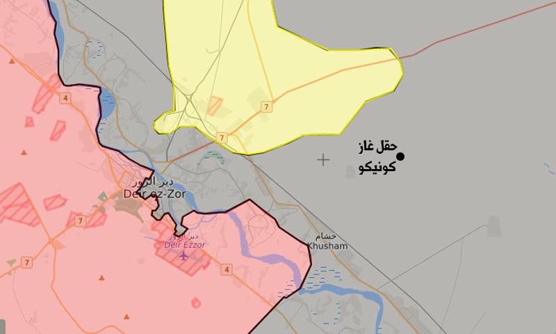 """خريطة السيطرة في محيط دير الزور وموقع حقل """"كونيكو"""" للغاز شمال شرقي المدينة (تعديل عنب بلدي)"""