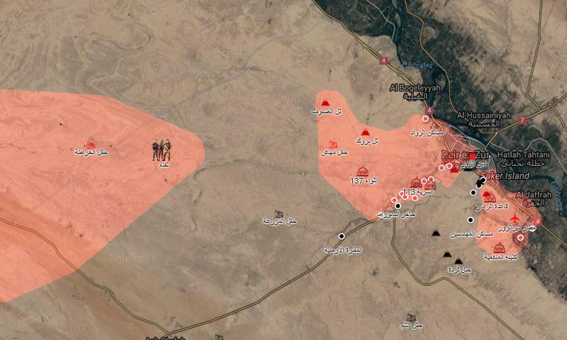 خريطة السيطرة في محيط دير الزور – 4 أيلول 2017 (خرائط جوجل المعدلة)