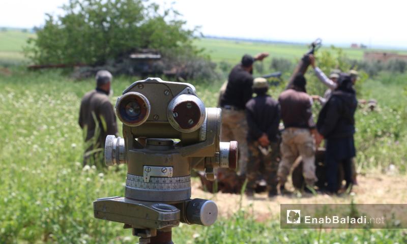 """مدفع هاون تابع لـ """"أحرار الشام"""" في ريف حماة الشمالي- الخميس 20 نيسان (عنب بلدي)"""