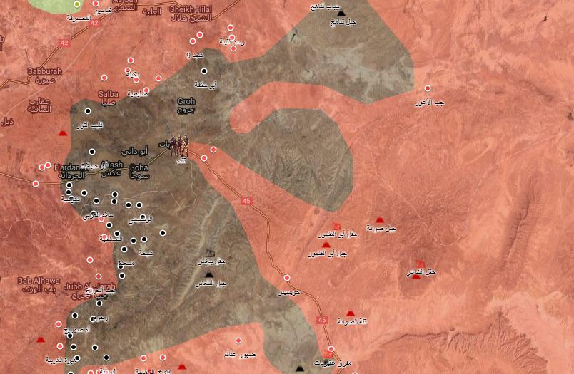 خريطة توضيحية لنفوذ قوات الأسد في ريف حماة الشرقي - 2 أيلول 2017 (الخريطة الحربية)