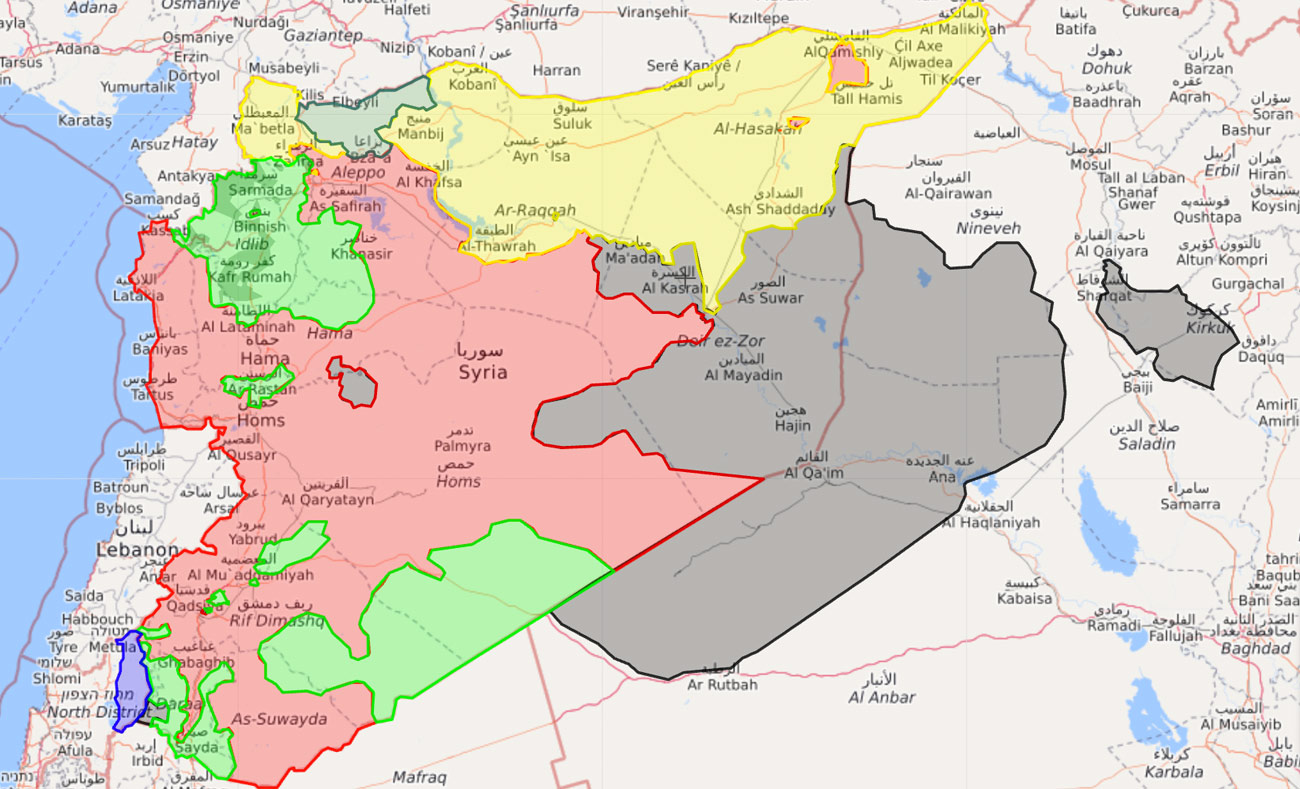 خريطة تظهر توزع السيطرة في سوريا - 17 أيلول 2017 (Livemap)