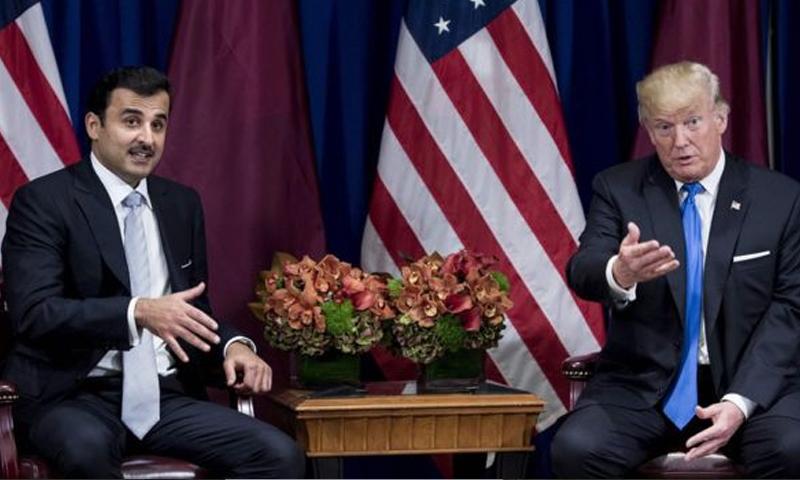 الرئيس الأمريكي دونالد ترامب وأمير قطر تميم بن حمد - الثلاثاء 19 أيلول (AFP)