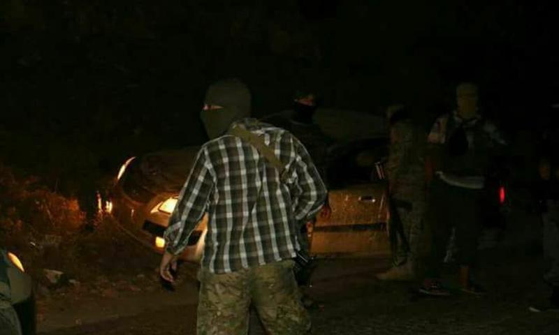 سيارة القيادي أبو ياسر الشامي بعد حادثة الاغتيال - 17 أيلول 2017 (فيس بوك)