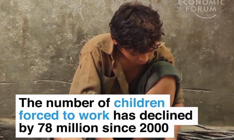 لقطة من الفيديو الذي أعده موقع world economic forum عن عمالة الأطفال - 19 أيلول 2017 (عنب بلدي)