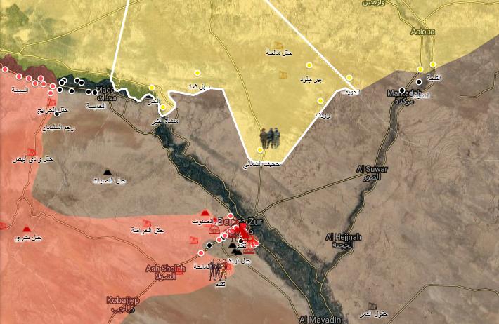 خريطة تظهر تقدم قوات سوريا الديموقراطية شمال شرق دير الزور - 10 أيلول 2017 (الخريطة الحربية)