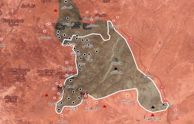 خريطة توضح نفوذ قوات الأسد وتنظيم الدولة في ريف حماة الشرقي - 11 أيلول 2017 (الخريطة الحربية)