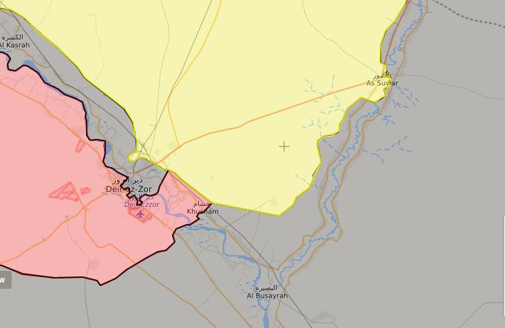 خريطة توضح نفوذ قوات سوريا الديموقراطية وقوات الأسد شرق الفرات - 3 تشرين الأول 2017 (livemap)