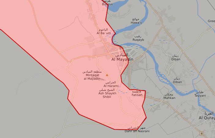 خريطة توضح نفوذ قوات الأسد في محيط مدينة الميادين - 15 تشرين الأول 2017 (LIVEMAP)