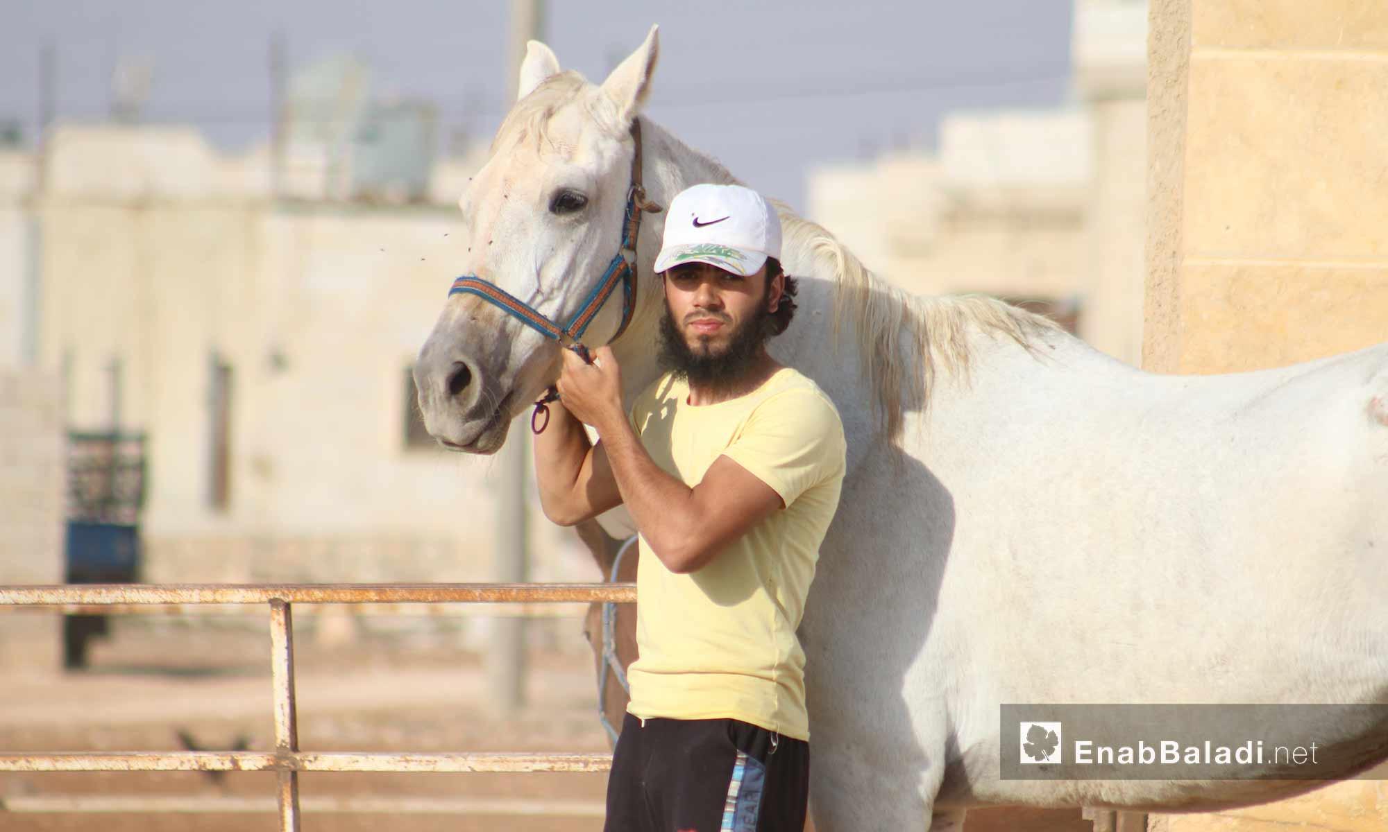 أحد مرابط الخيول العربية الأصيلة في ريف حلب الجنوبي - أيلول 2017 (عنب بلدي)