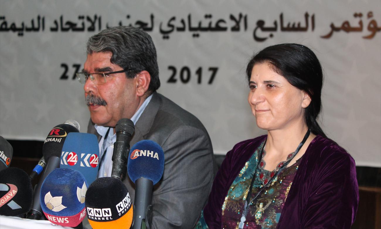 صالح مسلم رئيس حزب الاتحاد الديمقراطي السابق مع آسيا عبدالله الرئيسة المشتركة للحزب (إنترنت)