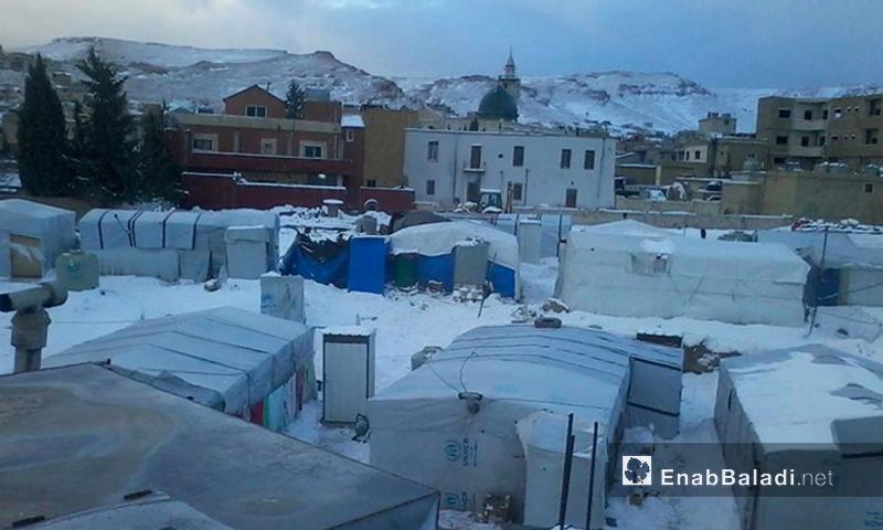 الثلوج في مخيمات اللاجئين السوريين في لبنان، 2 كانون الثاني 2016 (عنب بلدي)