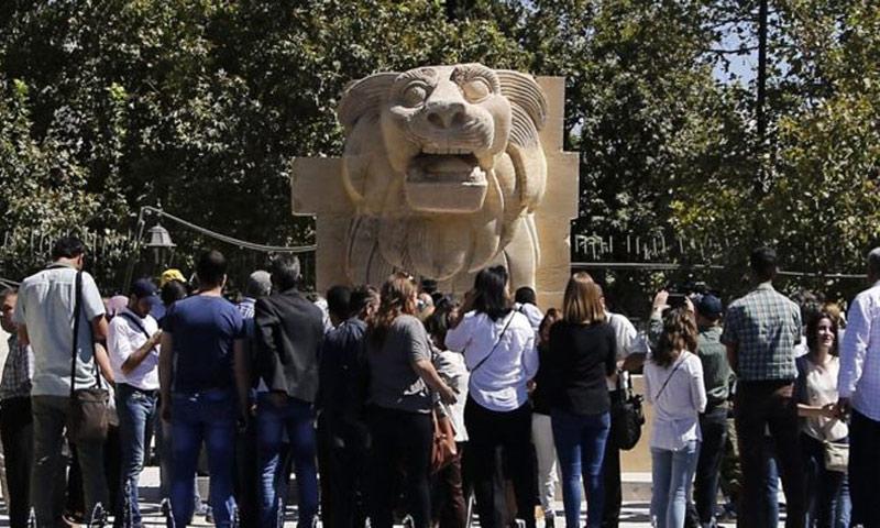 أسد اللات في المتحف الوطني بدمشق - 1 تشرين الأول 2017 (GETTY IMAGES)