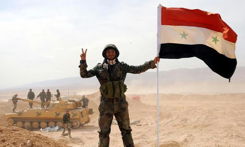 عنصر من قوات الأسد يحمل علم النظام خلال المعارك نحو دير الزور - 2017 (فيس بوك)