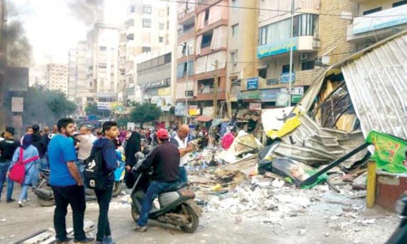 """احتجاجات في ضاحية بيروت الجنوبية ضد """"حزب الله"""" - 25 تشرين الأول 2017 (انترنت)"""