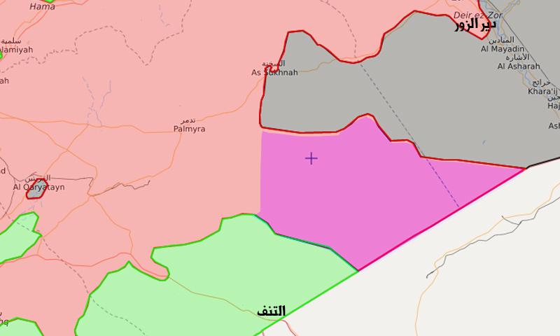 خريطة توزع القوى قرب التنف (تعديل عنب بلدي)