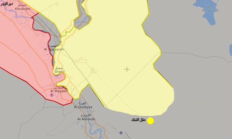 """خريطة تظهر السيطرة وموقع حقل """"التنك"""" شرقي دير الزور (تعديل عنب بلدي)"""