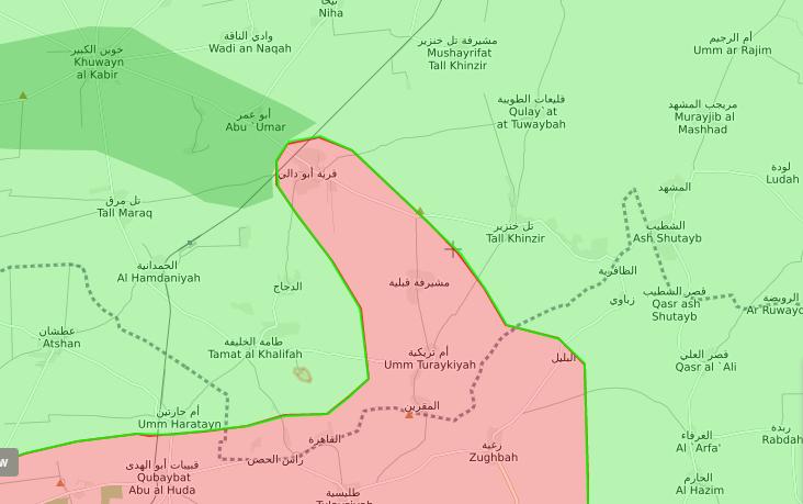 خريطة توضح نفوذ قوات الأسد وهيئة تحرير الشام في محيط قرية أبو دالي - 7 تشرين الأول 2017 (livemap)