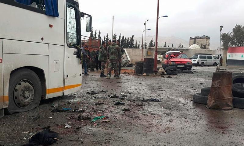 مكان التفجيرين الذين استهدفا زوارًا شيعة في دمشق- 11 آذار 2017 (فيس بوك)