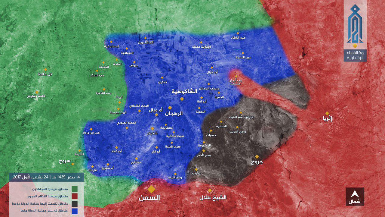 """خريطة نشرتها وكالة """"إباء"""" توضح المحور الذي تقدمت خلاله قوات الأسد شرقي حماة - 24 تشرين الأول 2017 - (إباء)"""