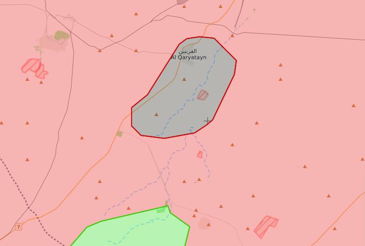 خريطة توضيحية لنفوذ تنظيم الدولة في مدينة القريتين ومحيطها - 4 تشرين الأول 2017 (livemap)