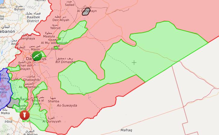 خريطة السيطرة الميدانية على الحدود السورية الأردنية – 10 تشرين الأول 2017 – (livemap)