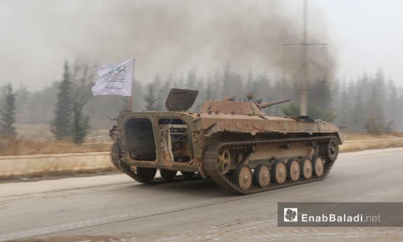 """عربة تابعة لحركة """"أحرار الشام الإسلامية"""" في معركة حلب- الجمعة 28 تشرين الأول (عنب بلدي)"""