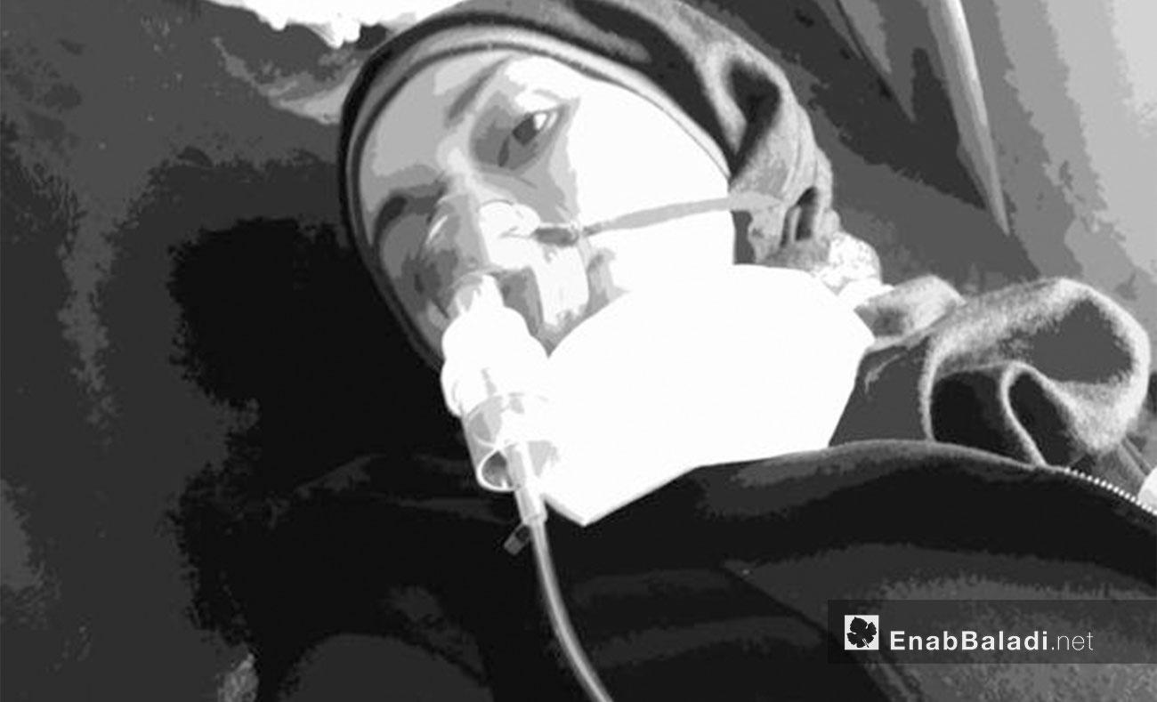 آية متضررة من القصف الكيماوي على مدينة خان شيخون بريف إدلب - نيسان 2017( عنب بلدي)