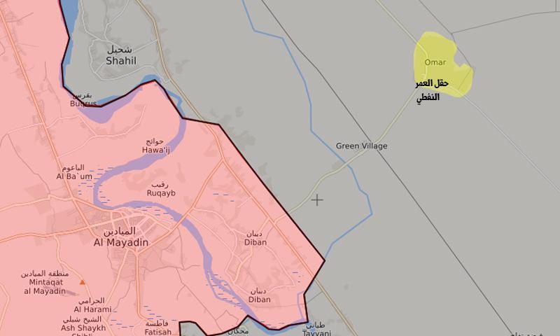 خريطة تظهر موقع حقل العمر في ريف دير الزور (تعديل عنب بلدي)