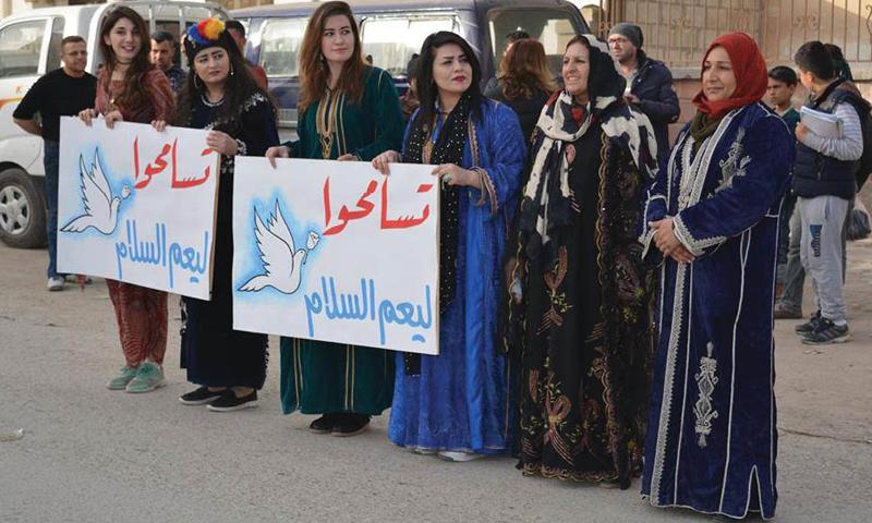 نساء كرديات ضمن حملة قائدات السلام في الحسكة (شبكة قائدات السلام)