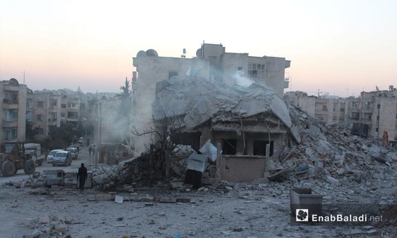 الدمار الذي لحق بالأحياء االسكنية جراء قصف الطيران الروسي والتحالف في إدلب - 7 شباط 2017 (عنب بلدي)