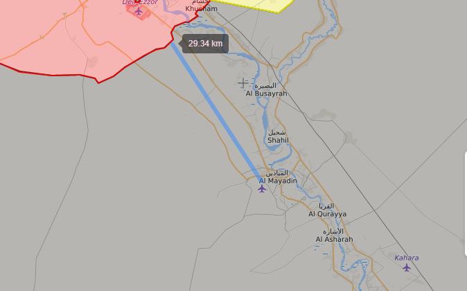خريططة توضح نفوذ قوات الأسد وتنظيم الدولة في دير الزور - 4 تشرين الأول 2017 (livemap)
