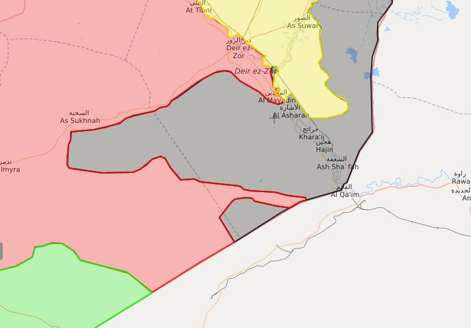 خريطة ميدانية لنفوذ قوات الأسد وتنظيم الدولة في البوكمال - 6 تشرين الثاني 2017 - (livemap)