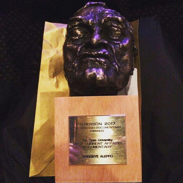 """درع فاز به """"وداعًا حلب"""" في لندن عن جائزة """"غريسون"""" لأفضل فيلم وثائقي طويل - 6 تشرين الثاني 2017 (موقع الجائزة)"""