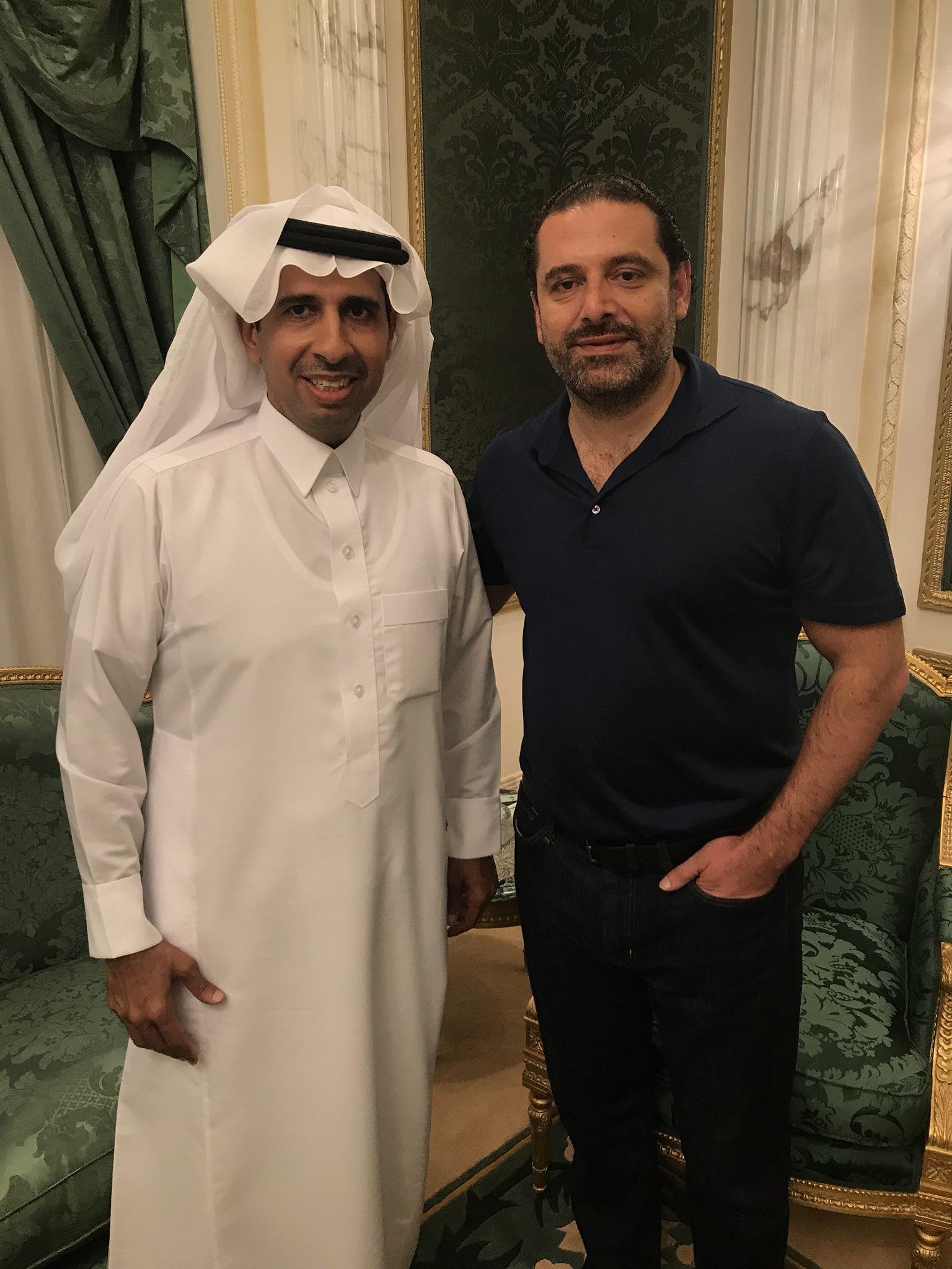 سعد الحريري مع السفير وليد اليعقوب (تويتر)