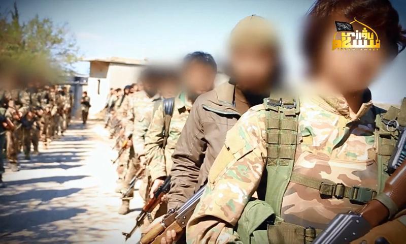 مقاتلين من الحزب التركستاني في جسر الشغور غربي إدلب - 7 تشرين الثاني 2017 - (التركستان)