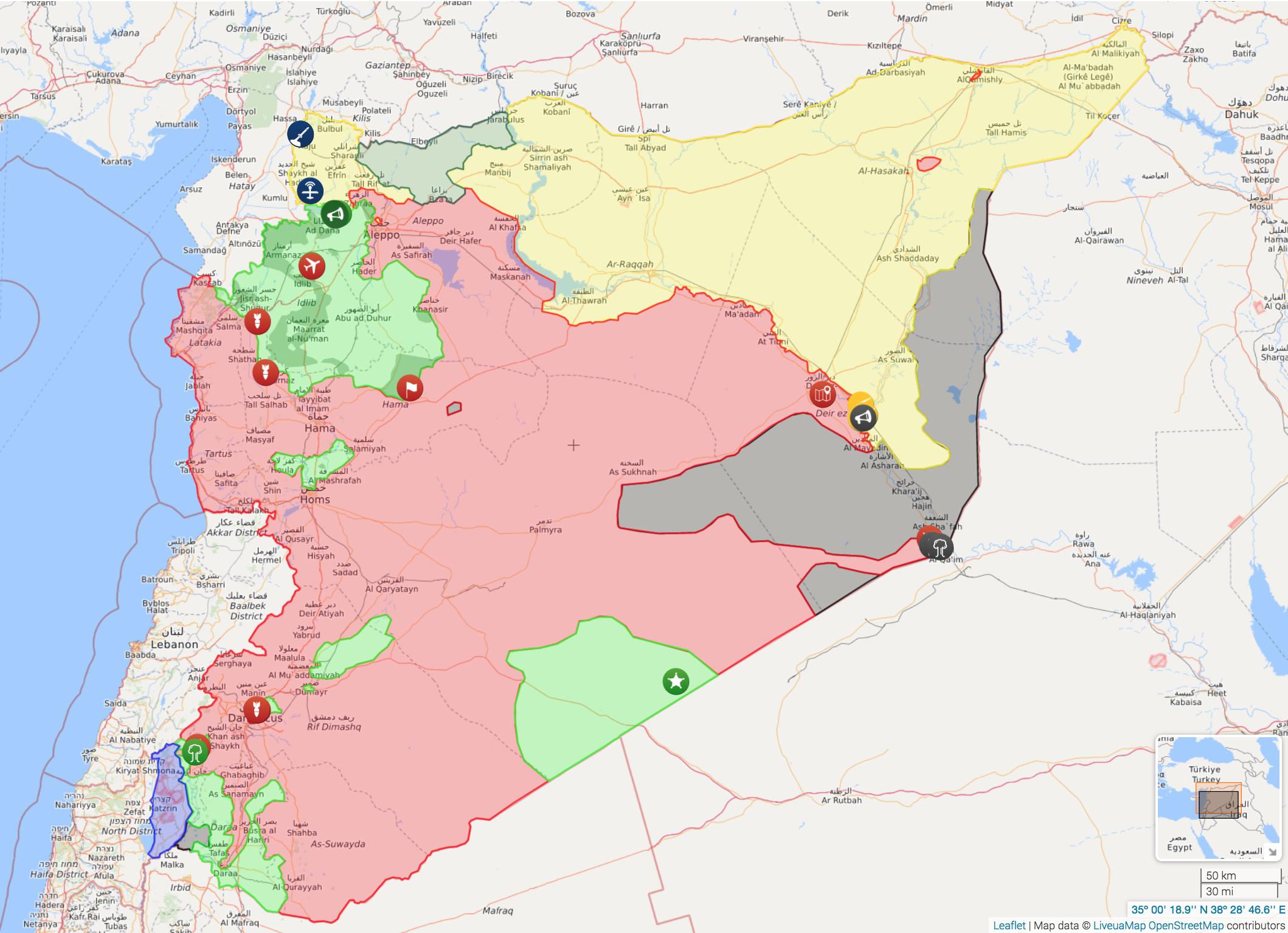خريطة سيطرة القوى العسكرية في سوريا - 12 تشرين الثاني 2017 (livemap)