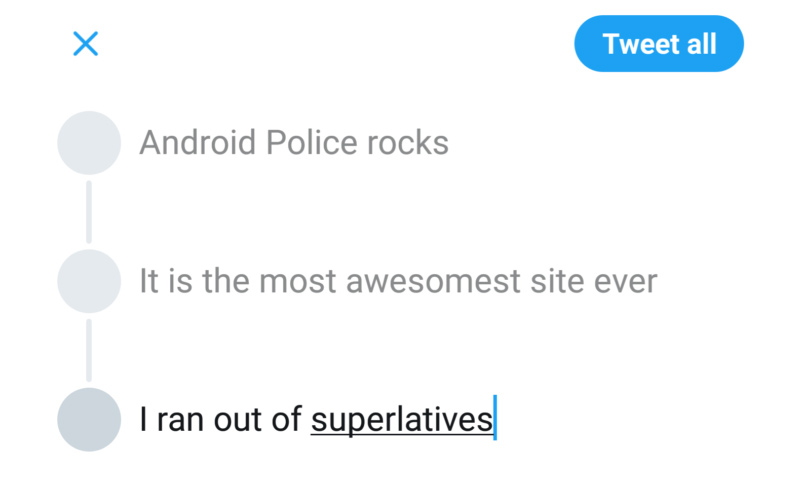 """صورة تظهر تغريدات تتابعية في """"تويتر"""" - 16 تشرين الثاني 2017 (androidpolice)"""