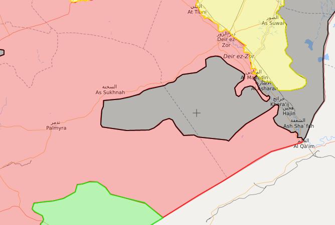 خريطة توضح نفوذ قوات الأسد في محيط مدينة البوكمال- 22 تشرين الثاني 2017 (livemap)
