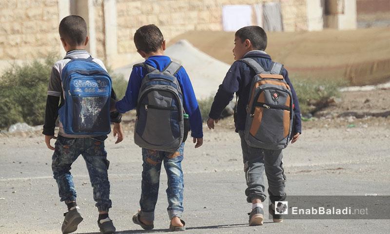 أجواء الدراسة في إحدى المدرس في دابق بريف حلب الشمالي - 4 تشرين الأول 2017 (عنب بلدي)