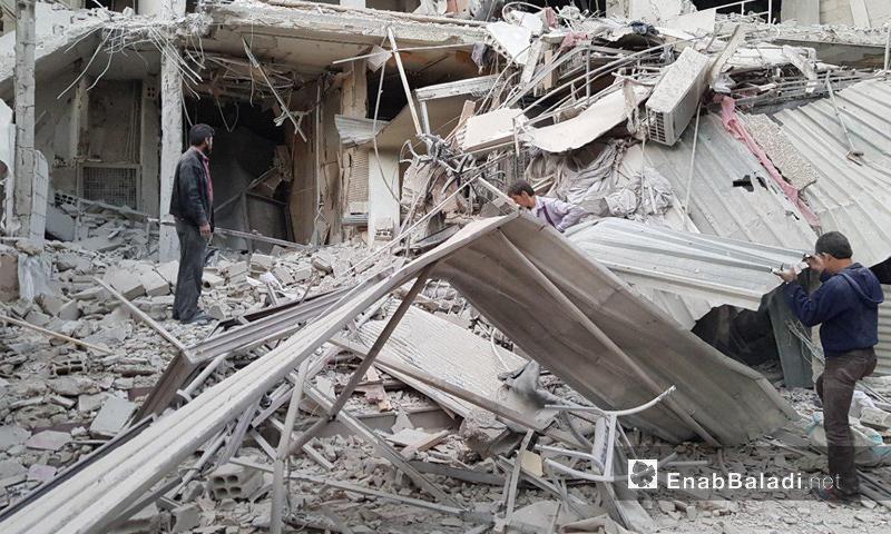 آثار القصف الجوي على مدينة كفربطنا في الغوطة الشرقية - 20 تشرين الثاني 2017 (عنب بلدي)