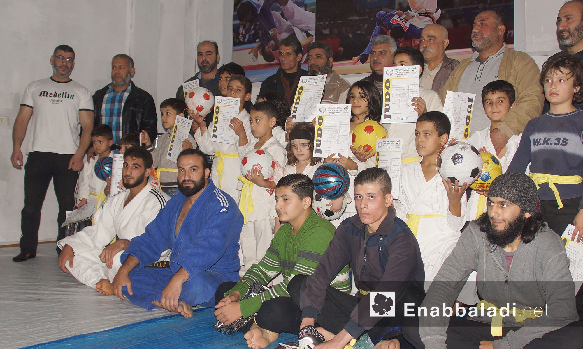 تكريم الفائزين بالمستوى الأول للحزام الأصفر في نادي الجودو بمدينة إدلب 13 تشرين الثاني 2017 (عنب بلدي)