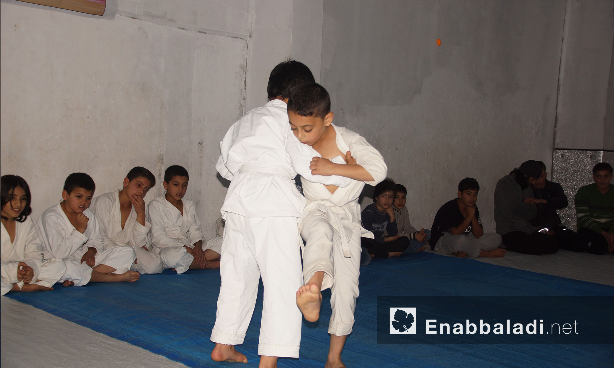 فحص المتدربين بالمستوى الأول للحزام الأصفر في نادي الجودو بمدينة إدلب 13 تشرين الثاني 2017 (عنب بلدي)