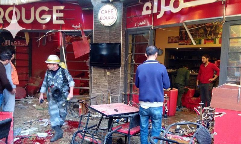 """آثار القصف على مطعم """"الحمراء"""" في دمشق - 7 تشرين الثاني 2017 (دمشق الآن)"""