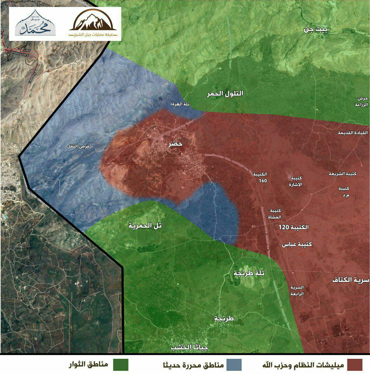 خريطة نشرتها الفصائل تظهر التطورات العسكرية بين الغوطة الغربية والقنيطرة - 3 تشرين الثاني 2017 (تيلغرام)