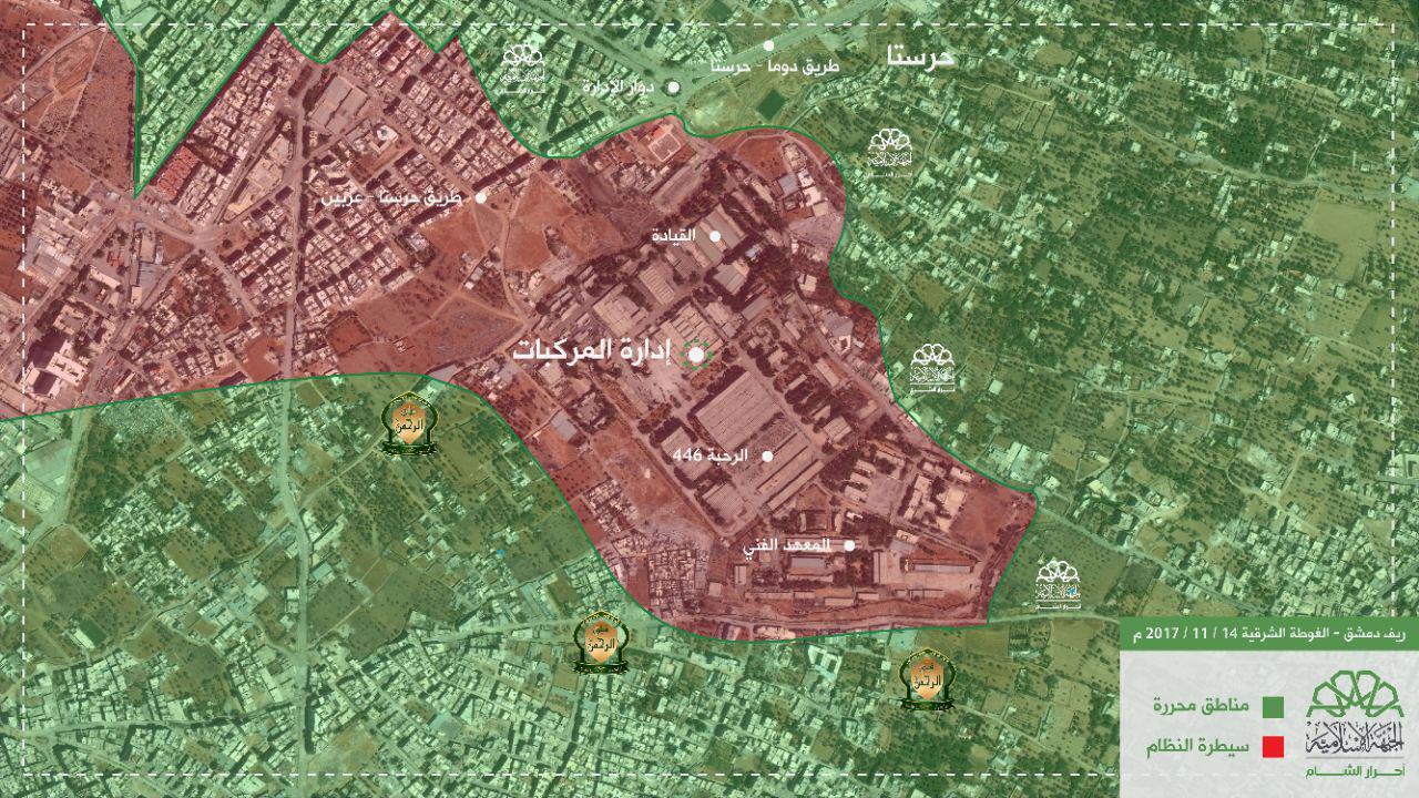 خريطة توزع النقاط في إدارة المركبات - 15 تشرين الثاني 2017 (أحرار الشام)