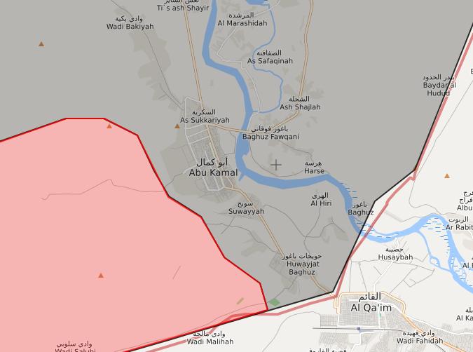 خريطة توضح وصول قوات الأسد إلى مدخل البوكمال الغربي - 8 تشرين الثاني 2017 - (LIVEMAP)
